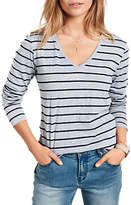 Hush Striped Slub V-Neck T-Shirt, Grey Marl/Black