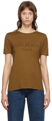 Balmain Brown Flocked Logo T-Shirt