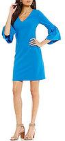Donna Morgan V-Neck Bell Sleeve Sheath Dress