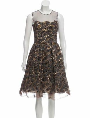 Oscar de la Renta Embellished Mesh Dress Brown