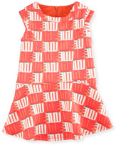 Kenzo Sleeveless Printed Fit-and-Flare Dress, Apricot, Size 6M-3
