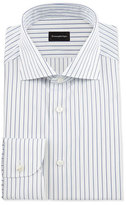 Ermenegildo Zegna Pinstripe Woven Dress Shirt, White/Navy