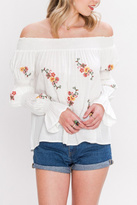 Flying Tomato Off Shoulder Embroidered Top