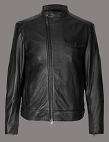 Autograph Leather Asymmetric Zipped Jacket