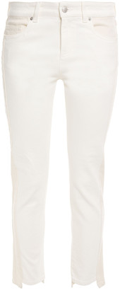 Alexander McQueen Cropped Two-tone Mid-rise Skinny Jeans