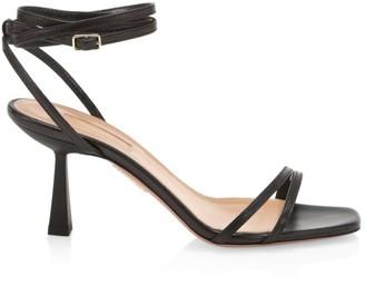 Aquazzura Isabel Square-Toe Leather Sandals