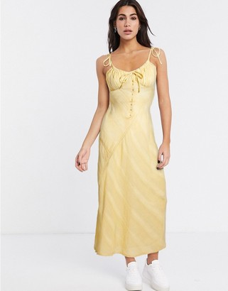 ASOS DESIGN lace insert bias maxi dress with ruched bust