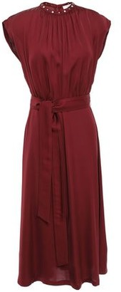 Sandro Conique Belted Studded Satin Midi Dress