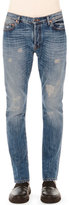 Valentino Distressed Slim-Fit Denim Jeans, Blue