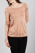 See By Chloe L/s Shoulder Cut-out T In Peach