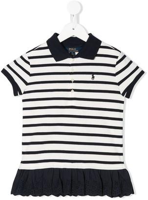 Ralph Lauren Kids striped ruffled-hem polo shirt