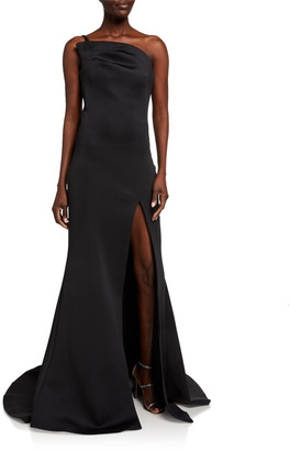 Jovani One-Shoulder Asymmetric Scuba Column Gown