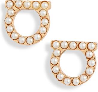 Salvatore Ferragamo Small Gancio Imitation Pearl Stud Earrings