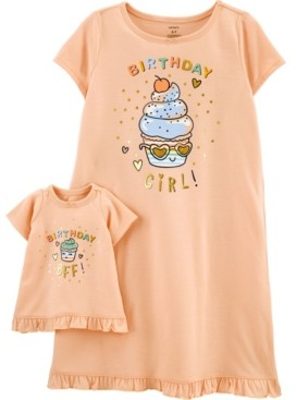 Carter's Big Girls Birthday Nightgown with Matching Doll Nightgown Set