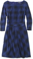 L.L. Bean Signature Ponte Dress, Three-Quarter-Sleeve Plaid