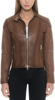 Forzieri Brown Padded Leather Women's Zip Front Jacket