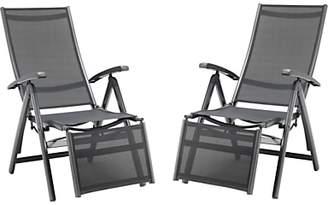 Kettler Surf Multi Relaxer Adjustable Sun Loungers, Grey, Set of 2