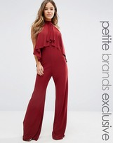 John Zack Petite High Neck Jumpsuit With Ruffle Front Detail
