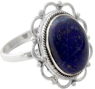 Novica Artisan Crafted Sterling Scalloped Lapis Ring