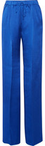 Max Mara Vortice Hammered Silk-satin Wide-leg Pants - Bright blue