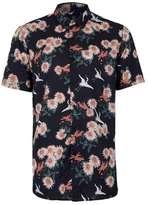 Topman Navy Japanese Floral Print Short Sleeve Casual Shirt
