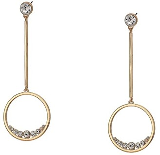 GUESS Circle Linear Drop Earrings with Floating Stones