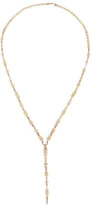 Etho Maria Misty 18K Rose Gold, Diamond & Opal Spear Lariat Necklace