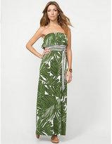 Le Château Leaf Print Maxi Dress with Self Tie