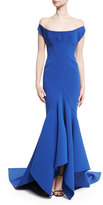 Zac Posen Scoop Off-the-Shoulder Trumpet Gown, Blue