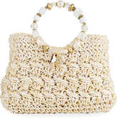 Cappelli Straworld Sea Charms Crochet Straw Tote Bag, White