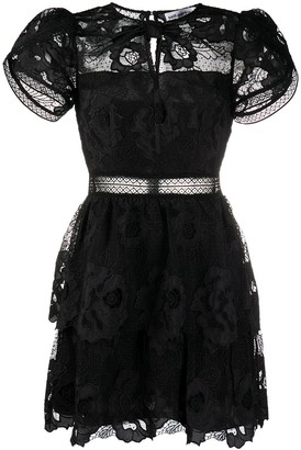 Self-Portrait Floral Lace Cocktail Dress