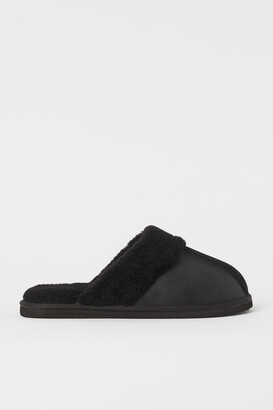 H&M Faux Shearling-lined Slippers - Black