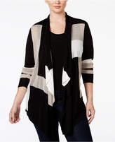 INC International Concepts Plus Size Colorblocked Multi-Stitch Cardigan, Only at Macy's