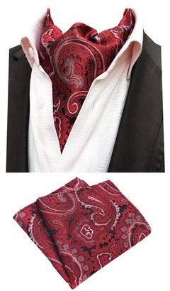 MOHSLEE Men Gold Black Paisley Cravat Tie Formal Ascot Necktie Pocket Square Set - Multicoloured - One size