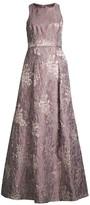 Aidan Mattox Floral Jacquard A-Line Dress