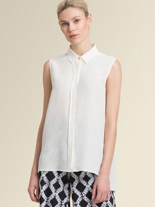 DKNY Donna Karan Unisex Sleeveless Button-up With High-low Hem - Ivory - Size XX-Small