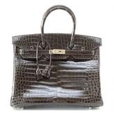 Hermes pristine (PR Graphite Porosus Crocodile 35cm Birkin Bag with Palladium Hardware