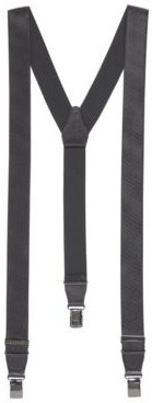 Gift-boxed suspenders with leather trim and gunmetal hardware