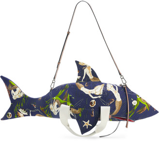 Loewe + Paula's Ibiza Leather-Trimmed Printed Canvas Crossbody Bag