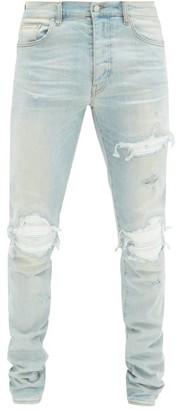 Amiri Mx1 Distressed Skinny-fit Jeans - Light Blue