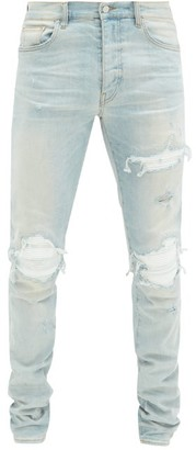 Amiri Mx1 Distressed Skinny-fit Jeans - Mens - Light Blue