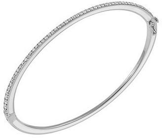 Raphaele Canot Skinny Deco White Enamel and Diamonds Bangle Bracelet - White Gold
