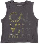 Calvin Klein Distressed Logo Cotton Tank Top, Big Girls (7-16)