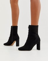 Asos Design DESIGN Expression lace up heeled boots in black