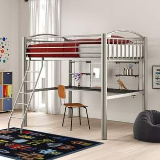 Korte Twin Four Poster Bed with Shelves Zoomie Kids
