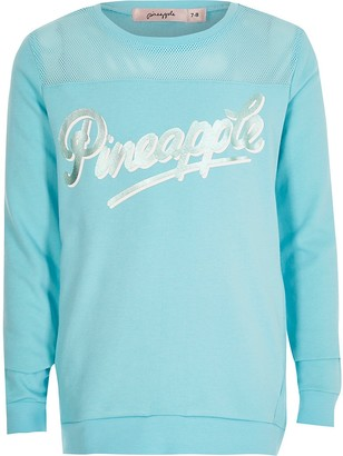 River Island Girls Pineapple blue printed mesh sweatshirt
