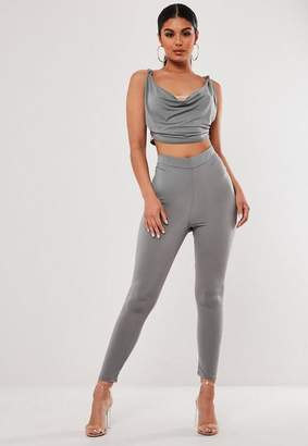 Missguided Gray Co Ord Ruched Bum Leggings