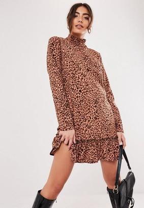 Missguided Brown Leopard Print Ruffle Hem Smock Dress