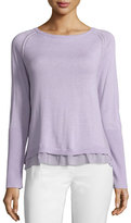 Halston Sweater with Layered Hem Detail, Thistle