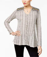 Style&Co. Style & Co Cotton Embellished Jacquard Button-Front Top, Created for Macy's
